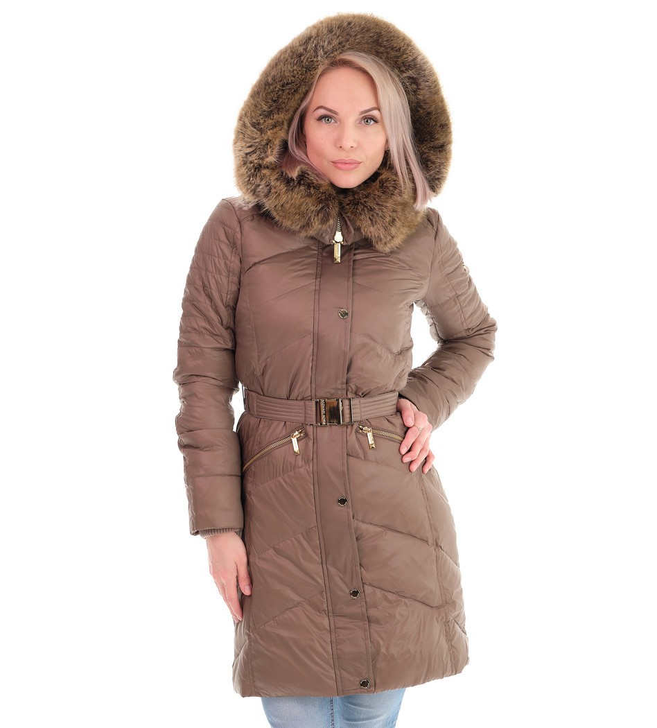 Пуховик Faux Fur Plain Medium Down Jacket - Интернет магазин брендовой одежды BOMBABRANDS.RU