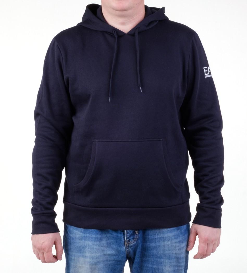 a188b2cbb96 Толстовка EA7 3A259 274454 с капюшоном синяя - Интернет магазин брендовой  одежды BOMBABRANDS.RU