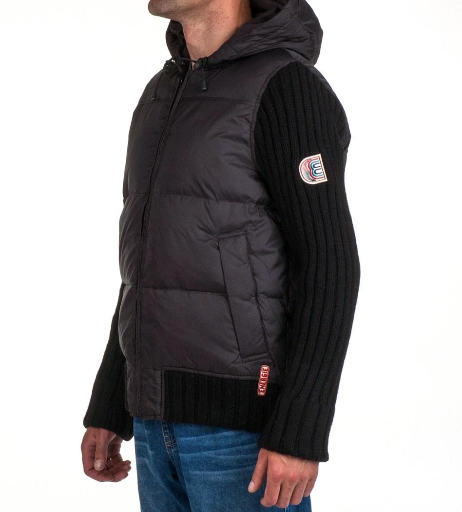 220977ef706a Пуховик с вязанными рукавами черный - Интернет магазин брендовой одежды  BOMBABRANDS.RU
