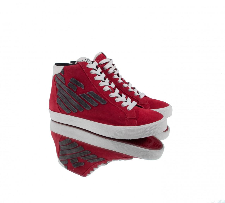 ae68ee13c999 Кеды мужские Emporio Armani красные высокие в интернет-магазине с ...