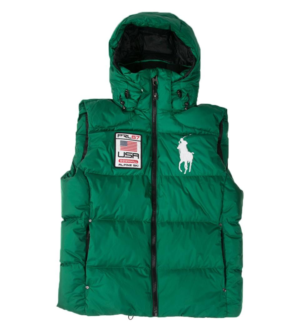 5c2ac96d840 Жилет пуховый Big Pony Usa green - Интернет магазин брендовой одежды  BOMBABRANDS.RU