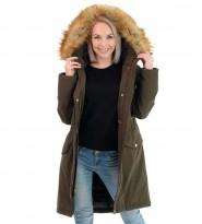Парка пуховая Faux Fur Trim Hooded Down Parka Coat Khaki - Интернет магазин брендовой одежды BOMBABRANDS.RU