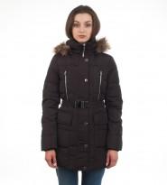 Пуховик Hooded Faux Fur Trim Down Belted Black Coat - Интернет магазин брендовой одежды BOMBABRANDS.RU