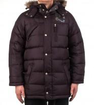 Пуховик с капюшоном и искусственным мехом черный - Интернет магазин брендовой одежды BOMBABRANDS.RU