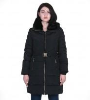 Пуховик черный Belted Down Quilted Puffer Faux Fur Hooded Coat 304  - Интернет магазин брендовой одежды BOMBABRANDS.RU