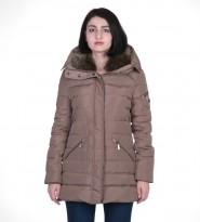 Пуховик бежевый Zip Front Faux Fur Collar Down - Интернет магазин брендовой одежды BOMBABRANDS.RU