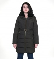 Пуховик хаки Belted Down Quilted Puffer Faux Fur Hooded Coat 304  - Интернет магазин брендовой одежды BOMBABRANDS.RU