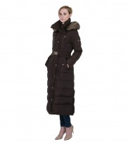 Пальто пуховое коричневое Faux Fur Trim Belted Down Maxi Puffer - Интернет магазин брендовой одежды BOMBABRANDS.RU