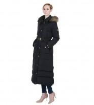 Пальто пуховое черное Faux Fur Trim Belted Down Maxi Puffer - Интернет магазин брендовой одежды BOMBABRANDS.RU
