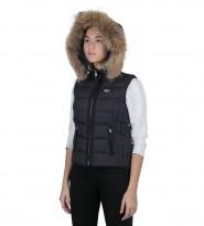 Жилет пуховый Fur Trim Gilet темно синий - Интернет магазин брендовой одежды BOMBABRANDS.RU