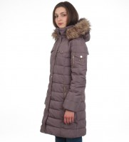 Пуховик Down Puffer Jacket Bubble Coat Grey Gold Hood Fur Trim - Интернет магазин брендовой одежды BOMBABRANDS.RU