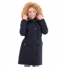 Парка пуховая Faux Fur Trim Hooded Down Parka Coat Navy - Интернет магазин брендовой одежды BOMBABRANDS.RU