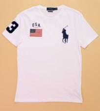 White USA Flag Big Pony Crewneck t shirt - Интернет магазин брендовой одежды BOMBABRANDS.RU