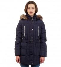 Пуховик Hooded Faux Fur Trim Down Belted Navy Coat - Интернет магазин брендовой одежды BOMBABRANDS.RU