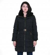 Пуховик с поясом и капюшоном черный - Интернет магазин брендовой одежды BOMBABRANDS.RU