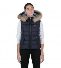 Жилет пуховый Fur Trim Gilet синий - Интернет магазин брендовой одежды BOMBABRANDS.RU