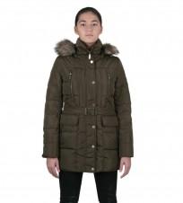 Пуховик Hooded Faux Fur Trim Down Belted Khaki Coat - Интернет магазин брендовой одежды BOMBABRANDS.RU