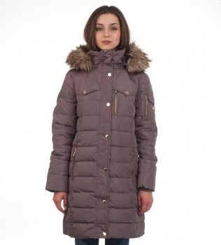Пуховик Down Puffer Jacket Bubble Coat Grey Gold Hood Fur Trim - Интернет магазин брендовой одежды BOMBABRANDS.RU